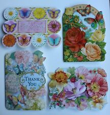 *PUNCH STUDIO Set of 4 Die Cut Blank Note Cards~Hydrangea~Butterfly~Roses~Floral