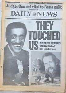 New York Daily News Singer Sammy Davis Jr./Jim Henson Dies/Dead 1990 Newspaper