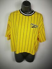 NEW WOMENS H&M YELLOW CROPPED BASEBALL STYLE CREW NECK TSHIRT T SHIRT TOP SMALL