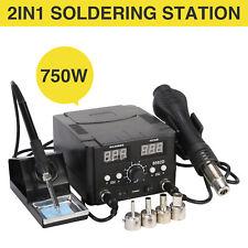 2 in 1 Digital Soldering Station SMD Rework Hot Air Gun Welder DC Power Supply