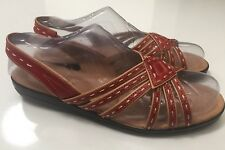 SOFTSPOTS Leather Slingback Low-Wedge Sandals Natural & Red Women's Size 9.5 N