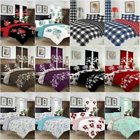 New 4Pcs Bedding Set Duvet Cover Matching Fitted Sheet Pillow Cases Curtains
