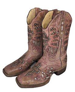 Rancho Semental Pink Leather Cross Angel Wings Cowboy Western Boots Womens 8 8.5