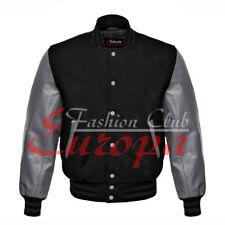 Baseball Black Varsity Letterman Wool Jacket with Leather Sleeves