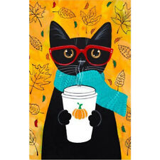Black Cat Coffee Garden Flag 12.5 x 18inch Garden Yard Flower Decorations