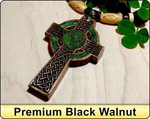 Mens Celtic Cross Necklace, Handcrafted Wood Cross Necklace, Irish Cross Pendant