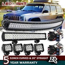 "For Jeep Wrangler Grand Cherokee 50"" Curved Led Light Bar+20/22""+4"" Work Lamps"