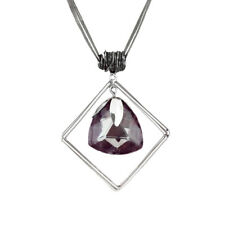 Crystal Quartz Coiled Square Framed Pendant Necklace Hot Trending Jewelry USA!