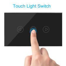 3 Gang Glass Panel Home Wall Light Smart Touch Switch Remote Control Black US