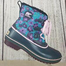 Sorel Tivoli Women's Green Floral Lace Up Waterproof Duck Boots Size 6