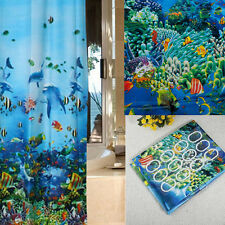 Ocean Sea Life Waterproof Shower Curtain Bathroom With Hooks Ring 180X180cm L7
