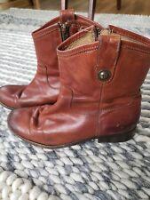 Frye Melissa Short Button Boots - Cognac - Size 8.5 Women's