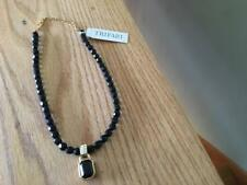NWT Trifari Black Bead Necklace with Onyx Stone Dangle