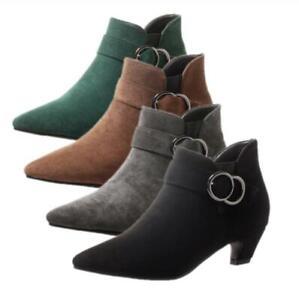 New Women Faux Suede Ankle Boots Kitten Heel Pointy Toe OL Office Shoes 34-54 D