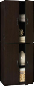 Tall Wooden Storage Cabinet Kitchen Pantry Cupboard Furniture Doors Brown