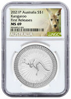 2021 P Australia Kangaroo 1oz Silver $1 Coin NGC MS69 FR White Core Holder