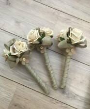 FLOWERGIRLS WAND WEDDING FLOWERS CHAMPAGNE ROSES HESSIAN BURLAP PEARLS VINTAGE