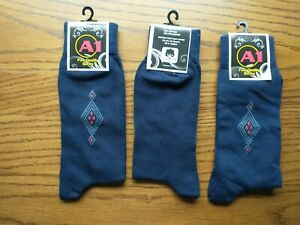 A1 Fine Quality Cotton Dress Socks, Navy Blue, Pack of 3, New