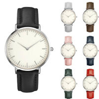 Fashion Women Men Casual Simple Quartz Analog Watch Leather Band Wrist Watches