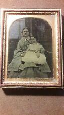 Antique Victorian Daguerreotype/ Ambrotype Photo of Woman & child
