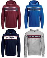 Mens New Jack & Jones Pullover Sweatshirt Hooded Top Grey Blue Black Burgundy