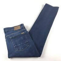 7 For All Mankind Mens Slimmy Stretch Dark Washed Denim Zipped Blue Jeans 36x30