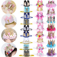 Baby Boys Girls Birthday Crown Headband 1st Tiara Headwear Party Hat Accessories