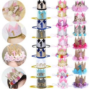 Baby Boy Girls 1st Birthday Crown Headband Tiara Headwear Party Hat Accessories