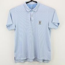 Zero Restriction Men's Collared SS Polo Shirt Large White Blue Striped USA Made