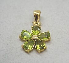 RARE CRISO 18K YELLOW GOLD & PERIDOT LUCKY FOUR LEAF CLOVER