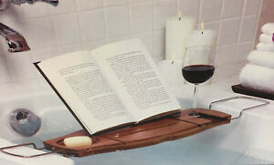 Bamboo Bathtub Caddy Tray Wine Book Tablet Phone Soap Holder Wire Handles Umbra