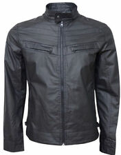 Crosshatch Faux Leather Collared Coats & Jackets for Men