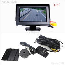 "Car Reverse Parking Camera With Radar Sensor System & 4.3"" LCD Rear View Monitor"