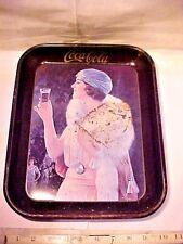 VINTAGE COCA COLA COKE PARTY FLAPPER GIRL W/ MINK  BLUE HAT SERVING TRAY OLDER