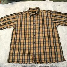 Timberland Mens Size Large Short Sleeve Button Down Brown Plaid Shirt EUC