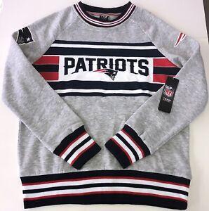 New England Patriots NFL Apparel Crew Neck Sweatshirt NWT Women's L Gray/Navy