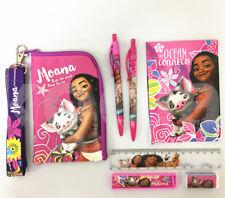 Disney Moana Stationery Set Party Favor School Supplies w/ Badge Lanyard Bag