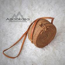 Round Ata Rattan Summer Bag,  Brown Shoulder Woman Bag , Beautiful Woven Bag