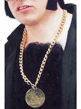 GOLD METAL MEDALLION ON CHAIN, 1960'S GROOVY FANCY DRESS, ONE SIZE, MENS