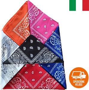 Bandana per collo, capelli testa foulard sciarpa disegni vari colori mix color