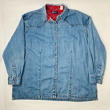 VTG Wrangler Blues Womens XL Denim Shirt Long Sleeve Snap Button Western Paisley