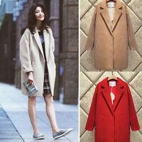 Womens Lapel Cashmere Wool Blend Trench Long Coat Outwear Oversize Jacket Parka