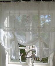 Raff Gardine MARIELLA Leinen 80/100/120/140/160/180 cm breit Weiß Shabby Vintage
