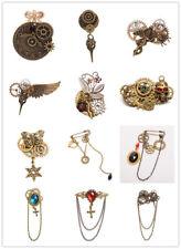 Unisex Retro Steampunk Bronze Brooches Lapel Pin Vintage Gear Bowknot Breastpin