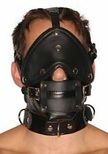 100% GENIUNE LEATHER FACE MUZZLE MASK HOOD with REMOVABLE MOUTH GAG & EYE PIECE
