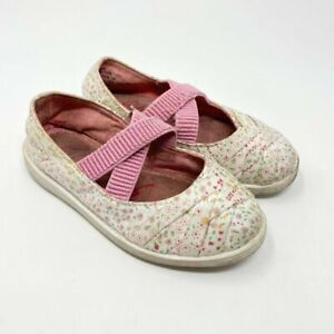 Blowfish Girls White Pink Floral Slip on Cross Strap Mary Jane Shoes Size 8
