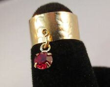14 Kt Gold Plated Hammered Toe Ring With A Ruby ( July) Crystal Dangle