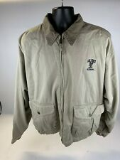 Mens  Brown Cotton Military Gear Zip Up Field Jacket Size UK XL