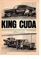 1969 HEMI-CUDA FUNNY CAR / BRUCE HICKS  ~  ORIGINAL 3-PAGE ARTICLE / AD