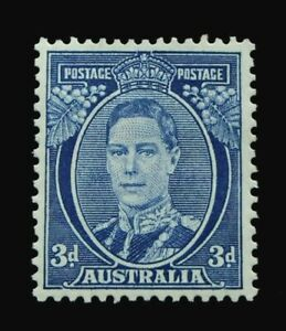 SG186 - 1940 Australia George VI - Bright Blue 3d Stamp - MHOG - CV $90 - 263a